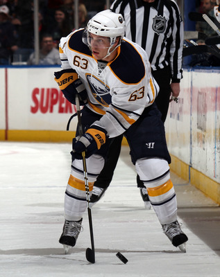 UNIONDALE, NY - JANUARY 15:  Tyler Ennis #63 of the Buffalo Sabres skates against the New York Islanders at the Nassau Coliseum on January 15, 2011 in Uniondale, New York. The Islanders won 5-3. (Photo by Bruce Bennett/Getty Images)