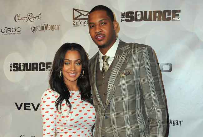 LOS ANGELES, CA - FEBRUARY 19:  TV personality Lala Vazquez and NBA player Carmelo Anthony arrives to the National Basketball Players Association (NBPA) All-Star Gala on February 19, 2011 in Los Angeles, California.  (Photo by Alberto E. Rodriguez/Getty I