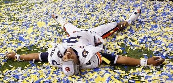 ATLANTA, GA - DECEMBER 04:  Quarterback Cam Newton #2 of the Auburn Tigers celebrates after their 56-17 win over the South Carolina Gamecocks during the 2010 SEC Championship at Georgia Dome on December 4, 2010 in Atlanta, Georgia.   (Photo by Kevin C. Co