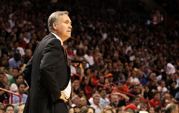 MIAMI, FL - FEBRUARY 27:  New York Knicks head coach Mike D'Antoni looks on during a foul shot during a game gainst the Miami Heat at American Airlines Arena on February 27, 2011 in Miami, Florida. NOTE TO USER: User expressly acknowledges and agrees that