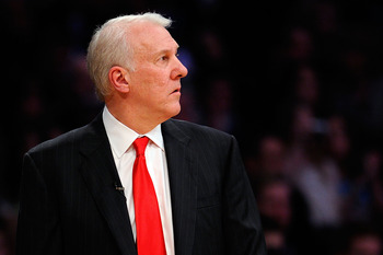 LOS ANGELES, CA - FEBRUARY 20:  Head coach Gregg Popovich of the Western Conference looks on in the 2011 NBA All-Star Game at Staples Center on February 20, 2011 in Los Angeles, California. NOTE TO USER: User expressly acknowledges and agrees that, by dow