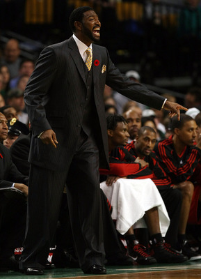 BOSTON - NOVEMBER 10:  Head coach Sam Mitchell of the Toronto Raptors reacts to a foul called on one of his players in the fourth quarter against the Boston Celtics on November 10,  2008 at TD Banknorth Garden in Boston, Massachusetts. The Celtics defeate