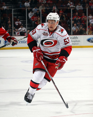 NEWARK, NJ - FEBRUARY 16:  Jeff Skinner #53 of the Carolina Hurricanes skates against the New Jersey Devils at the Prudential Center on February 16, 2011 in Newark, New Jersey.  (Photo by Bruce Bennett/Getty Images)