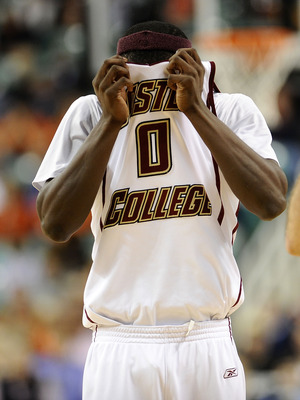 GREENSBORO, NC - MARCH 11:  Reggie Jackson #0 of the Boston College Eagles wipes his face during the first half against the University of Virginia Cavaliers in their first round game in the 2010 ACC Men's Basketball Tournament at the Greensboro Coliseum o