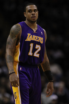 SAN ANTONIO, TX - DECEMBER 28:  Guard Shannon Brown #12 of the Los Angeles Lakers at AT&T Center on December 28, 2010 in San Antonio, Texas.  NOTE TO USER: User expressly acknowledges and agrees that, by downloading and/or using this photograph, user is c