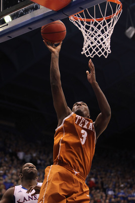 LAWRENCE, KS - JANUARY 22:  Jordan Hamilton #3 of the Texas Longhorns scores during the game against the Kansas Jayhawks on January 22, 2011 at Allen Fieldhouse in Lawrence, Kansas.  (Photo by Jamie Squire/Getty Images)