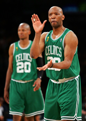 LOS ANGELES, CA - JUNE 15:  Sam Cassell #28 of the Boston Celtics reacts as he stands in front of teammate Ray Allen #20 while taking on the Los Angeles Lakers in Game Five of the 2008 NBA Finals on June 15, 2008 at Staples Center in Los Angeles, Californ