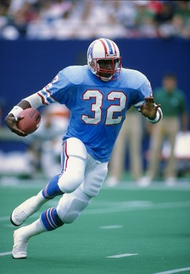 18 Sep 1988:  Running back Alonzo Highsmith of the Houston Oilers in action during a game against the New York Jets.  The Jets won the game, 45-3. Mandatory Credit: Rick Stewart  /Allsport