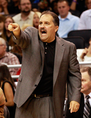 ORLANDO, FL - DECEMBER 18:  Head coach of the Orlando Magic Stan Van Gundy points during the game against the Philadelphia 76ers at Amway Arena on December 18, 2010 in Orlando, Florida.  NOTE TO USER: User expressly acknowledges and agrees that, by downlo