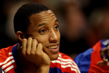CHICAGO, IL - DECEMBER 21: Evan Turner #12 of the Philadelphia 76ers sits on the bench during a game against the Chicago Bulls at the United Center on December 21, 2010 in Chicago, Illinois. The Bulls defeated the 76ers 121-76. NOTE TO USER: User expressl
