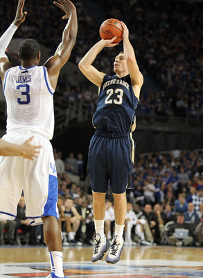 LOUISVILLE, KY - DECEMBER 08:  Ben Hansbrough #23 of the Notre Dame Fighting Irish shoots the ball during the game against the Kentucky Wildcats   in the 2010 DIRECTV SEC/BIG EAST Invitational at Freedom Hall on December 8, 2010 in Louisville, Kentucky.