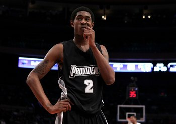 NEW YORK - MARCH 09:  Marshon Brooks #2 of the Providence Friars looks on after a play against the Seton Hall Pirates during the first round game of the Big East Basketball Tournament at Madison Square Garden on March 9, 2010 in New York, New York.  (Phot
