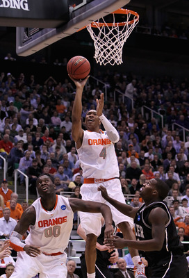 SALT LAKE CITY - MARCH 25:  Wes Johnson #4 of the Syracuse Orange puts up shot against the Butler Bulldogs during the west regional semifinal of the 2010 NCAA men's basketball tournament at the Energy Solutions Arena on March 25, 2010 in Salt Lake City, U