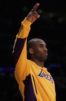 LOS ANGELES, CA - FEBRUARY 22:  Kobe Bryant #24 of the Los Angeles Lakers gestures from the bench in the second half against the Atlanta Hawks at Staples Center on February 22, 2011 in Los Angeles, California. The Lakers defeated the Hawks 104-80. NOTE TO