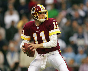 IRVING, TX - DECEMBER 26:  Quarterback Patrick Ramsey #11 of the Washington Redskins looks to pass against the Dallas Cowboys during the game on December 26, 2004 at Texas Stadium in Irving, Texas.   The Cowboys won 13-10.  (Photo by Ronald Martinez/Getty