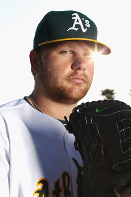PHOENIX, AZ - FEBRUARY 24:  Brett Anderson #49 of the Oakland Athletics poses for a portrait during media photo day at Phoenix Municipal Stadium on February 24, 2011 in Phoenix, Arizona.  (Photo by Ezra Shaw/Getty Images)