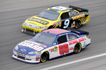 Dale Earnhardt Jr. raced up front most of the Las Vegas Cup race with Marcos Ambrose close by.