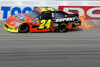 Jeff Gordon did not appreciate the 3D flames effect in Las Vegas.
