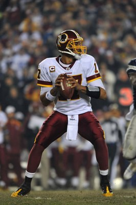 LANDOVER, MD - DECEMBER 27:  Jason Campbell #17 of the Washington Redskins looks to pass during the game against the Dallas Cowboys at FedExField on December 27, 2009 in Landover, Maryland. The Cowboys defeated the Redskins 17-0. (Photo by Larry French/Ge