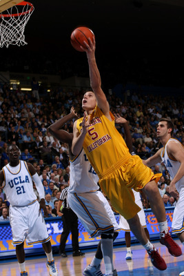 WESTWOOD, CA - FEBRUARY 4:  Nikola Vucevic #5 of the USC Trojans shoots against the UCLA Bruins on February 4, 2009 at Pauley Pavillion in Westwood, California.    (Photo by Stephen Dunn/Getty Images)