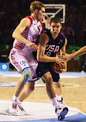 AUCKLAND, NEW ZEALAND - JULY 11:  Klay Thompson of the USA is put under pressure from Sime Olivari of Croatia during the U19 Basketball World Championships Semi-Final match between Croatia and the United States of America at North Shore Events Centre on J
