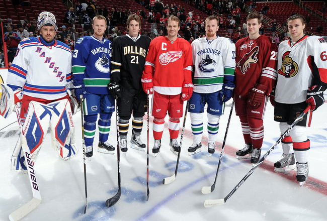 RALEIGH, NC - JANUARY 29:  (L-R) Henrik Lundqvist #30 of New York Rangers, Henrik Sedin #33 of the Vancouver Canucks, Loui Eriksson #21 of the Dallas Stars, Nicklas Lidstrom #5 of the Detroit Red Wings, Daniel Sedin #22 of the Vancouver Canucks, Oliver Ek