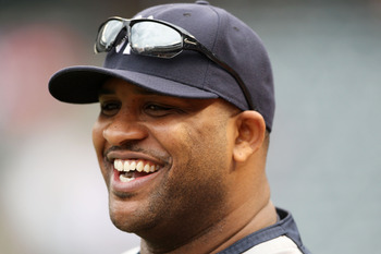 ARLINGTON, TX - OCTOBER 22:  CC Sabathia #52 of the New York Yankees looks on during batting practice prior to playing the Texas Rangers in Game Six of the ALCS during the 2010 MLB Playoffs at Rangers Ballpark in Arlington on October 22, 2010 in Arlington