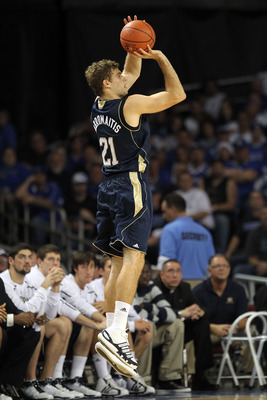 LOUISVILLE, KY - DECEMBER 08: Tim Abromaitis #21 of the Notre Dame Fighting Irish shoots the ball during the game against the Kentucky Wildcats in the 2010 DIRECTV SEC/BIG EAST Invitational at Freedom Hall on December 8, 2010 in Louisville, Kentucky.  (Ph