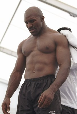 24 Jun 1997: Evander Holyfield trains before his bout against Mike Tyson at the MGM Grand Garden in Las Vegas, Nevada. Holyfield won the fight with a disqualification in the third round.