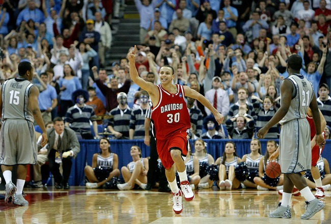 RALEIGH, NC - MARCH 23:  Stephen Curry #30 of the Davidson Wildcats celebrates after a victory over the Georgetown Hoyas during the second round of the 2008 NCAA Men's Basketball Tournament Midwest Regionals on March 23, 2008 at RBC Center in Raleigh, Nor