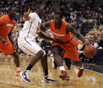 PITTSBURGH, PA - JANUARY 17:  Dion Waiters #3 of the Syracuse Orange drives to the basket against the Pittsburgh Panthers at Petersen Events Center on January 17, 2011 in Pittsburgh, Pennsylvania.  (Photo by Justin K. Aller/Getty Images)