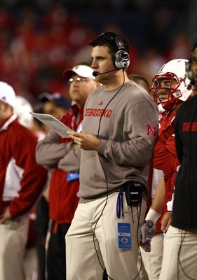 SAN DIEGO - DECEMBER 30:  Assistant Coach Tim Beck of the University of Nebraska Cornhuskers looks on from the sideline during the Pacific Life Holiday Bowl against University of Arizona Wildcats on December 30, 2009 at Qualcomm Stadium in San Diego, Cali