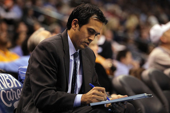 OKLAHOMA CITY, OK - JANUARY 30:  Head coach Erik Spoelstra of the Miami Heat during play against the Oklahoma City Thunder at Ford Center on January 30, 2011 in Oklahoma City, Oklahoma.  NOTE TO USER: User expressly acknowledges and agrees that, by downlo