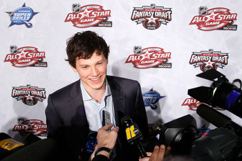 RALEIGH, NC - JANUARY 28:  Jeff Skinner of the Carolina Hurricanes answers questions during NHL All Star Player Media Availability apart of the 2011 NHL All-Star Weekend at the Raleigh Convention Center on January 28, 2011 in Raleigh, North Carolina.  (Ph