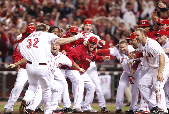 CINCINNATI, OH - SEPTEMBER 28: The Cincinnati Reds celebrate after Jay Bruce's walk off home run in the ninth inning against the Houston Astros at Great American Ball Park on September 28, 2010 in Cincinnati, Ohio. The Reds won 3-2 to clinch the NL Centra