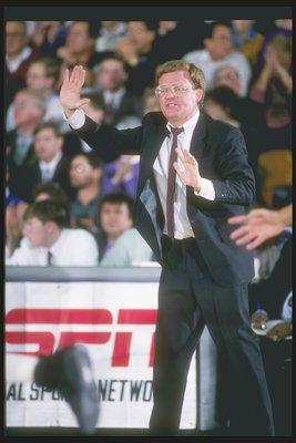 Mar 1994:  Pete Gillen gestures from the sidelines during an NIT playoff game between the Xavier Musketeers and the Northwestern Wildcats.  Xavier won the game 83-79. Mandatory Credit: Jonathan Daniel  /Allsport