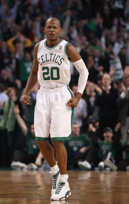 BOSTON, MA - FEBRUARY 10:  Ray Allen #20 of the Boston Celtics celebrates after his 3-point shot against the Los Angeles Lakers to break the NBA career 3-point record previously held by Reggie Miller of the Indiana Pacers on February 10, 2011 at the TD Ga