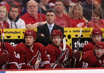 GLENDALE, AZ - MARCH 05:  Head coach Dave Tippett of the Phoenix Coyotes during the NHL game against the Detroit Red Wings at Jobing.com Arena on March 5, 2011 in Glendale, Arizona. The Coyotes defeated the Red Wings 5-4 in an overtime shoot out.  (Photo