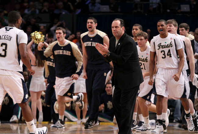 NEW YORK - MARCH 10:  Head coach Mike Brey of the Notre Dame Fighting Irish reacts with his team against the Seton Hall Pirates during the second round of 2010 NCAA Big East Tournament at Madison Square Garden on March 10, 2010 in New York City.  (Photo b
