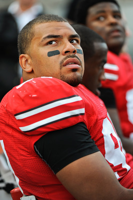 COLUMBUS, OH - SEPTEMBER 25:  Cameron Heyward #97 of the Ohio State Buckeyes stands on the sideline during a game against the Eastern Michigan Eagles at Ohio Stadium on September 25, 2010 in Columbus, Ohio.  Ohio State won 73-20. (Photo by Jamie Sabau/Get
