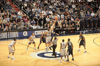WASHINGTON, DC - JANUARY 12:  Tip off of Georgetown Hoyas and Pittsburgh Panthers during a college basketball game on January 12, 2011 at the Verizon Center in Washington, DC.   The Panthers won 72-57.  (Photo by Mitchell Layton/Getty Images)