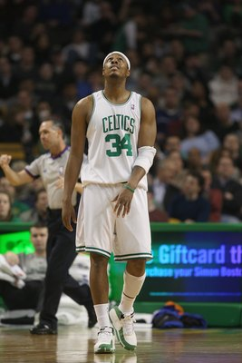 BOSTON - FEBRUARY 13:  Paul Pierce #34 of the Boston Celtics walks down the court during the game against the New York Knicks on February 13, 2008 at the TD Banknorth Garden in Boston, Massachusetts. The Boston Celtics defeated the New York Knicks 111-103