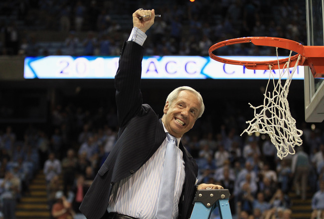 CHAPEL HILL, NC - MARCH 05:  Head coach Roy Williams of the North Carolina Tar Heels celebrates winning the ACC Regular Season Championship as they defeated the Duke Blue Devils 81-67 at the Dean E. Smith Center on March 5, 2011 in Chapel Hill, North Caro