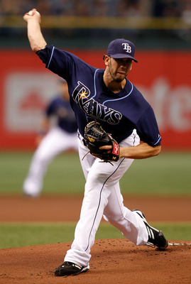ST PETERSBURG, FL - OCTOBER 07:  Pitcher James Shields #33 of the Tampa Bay Rays pitches against the Texas Rangers during Game 2 of the ALDS at Tropicana Field on October 7, 2010 in St. Petersburg, Florida.  (Photo by J. Meric/Getty Images)