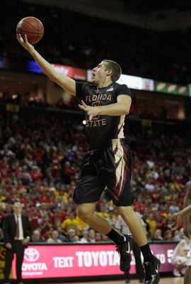 COLLEGE PARK, MD - FEBRUARY 23: Luke Loucks #3 of the  Florida State Seminoles drives to the basket against the  Maryland Terrapins at the Comast Center on February 23, 2011 in College Park, Maryland.  (Photo by Rob Carr/Getty Images)
