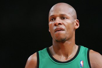 NEW YORK - FEBRUARY 06:  Ray Allen #20 of the Boston Celtics looks on court against the New York Knicks at Madison Square Garden on February 6, 2009 in New York City. NOTE TO USER: User expressly acknowledges and agrees that, by downloading and/or using t