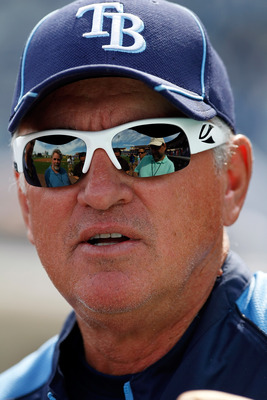 CLEARWATER, FL - MARCH 06:  Manager Joe Maddon #70 of the Tampa Bay Rays talks with the media before the start of the Grapefruit League Spring Training Game against the Philadelphia Phillies at Bright House Field on March 6, 2011 in Sarasota, Florida.  (P