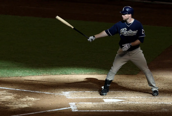 PHOENIX - SEPTEMBER 01:  Chase Headley #7 of the San Diego Padres at bat during the Major League Baseball game against the Arizona Diamondbacks at Chase Field on September 1, 2010 in Phoenix, Arizona.  The Diamondbacks defeated the Padres 5-2. (Photo by C