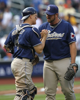 NEW YORK - JUNE 10:  Heath Bell #21 of the San Diego Padres celebrates the win with catcher Nick Hundley #4 against the New York Mets at Citi Field on June 10, 2010 in the Flushing neighborhood of the Queens borough of New York City.  (Photo by Nick Laham