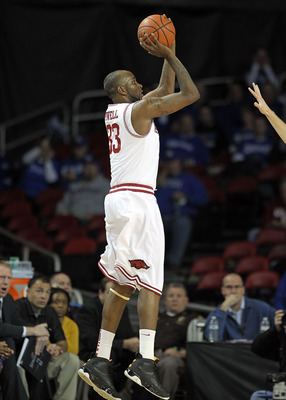 LOUISVILLE, KY - DECEMBER 08:  Marshawn Powell #33 of the Arkansas Razorbacks shoots the ball during the game against the Seton Hall Pirates in the 2010 DIRECTV SEC/BIG EAST Invitational at Freedom Hall on December 8, 2010 in Louisville, Kentucky.  (Photo